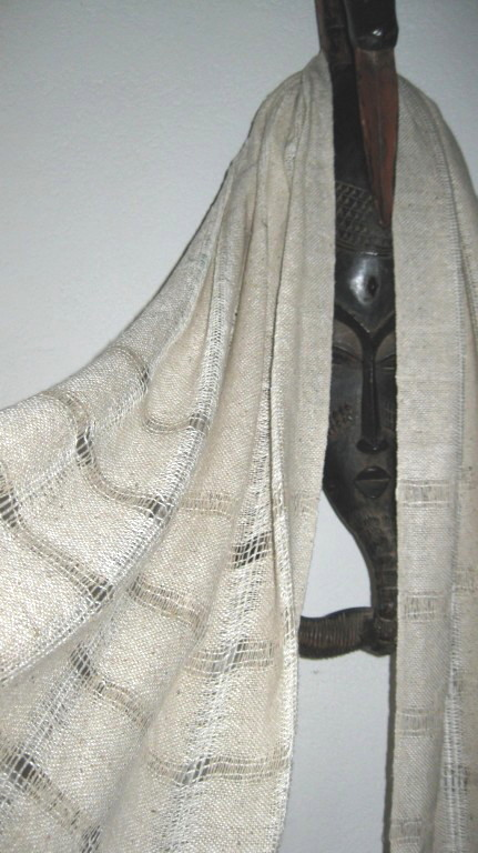 Handwoven Ecru Silk Shawl