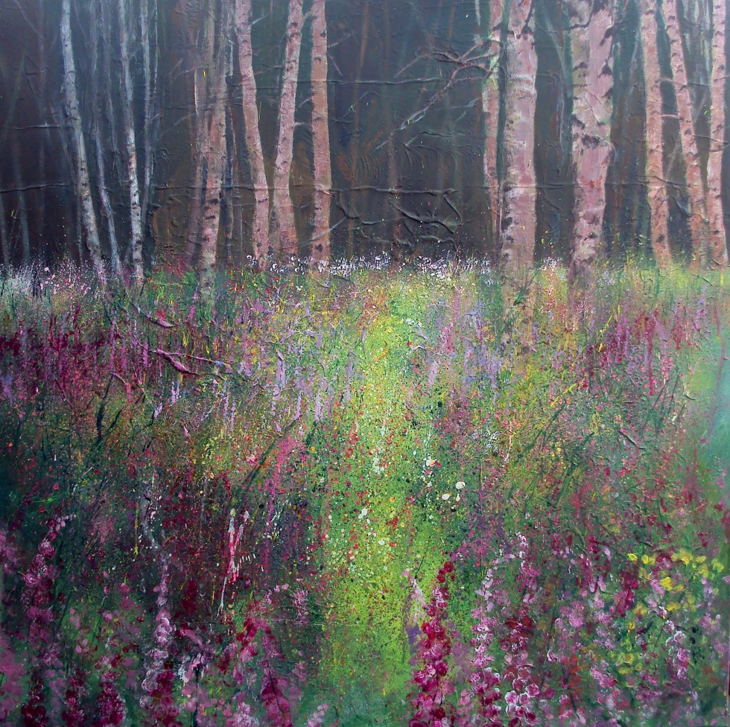 Edge of woods, foxgloves